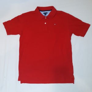 Red Tommy Hilfiger Rugby Polo with flag